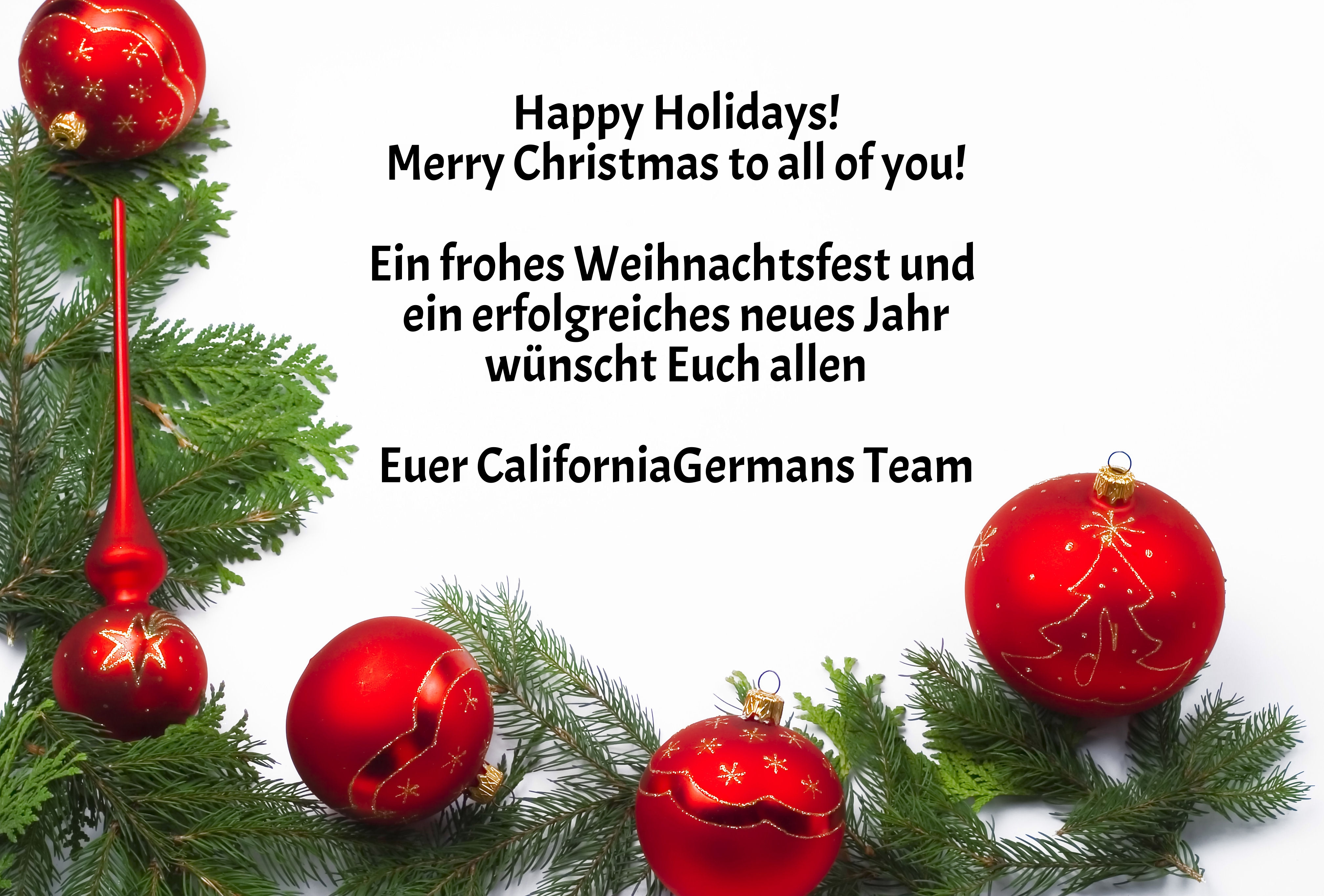 Happy Holidays Merry Christmas Frohe Weihnachten